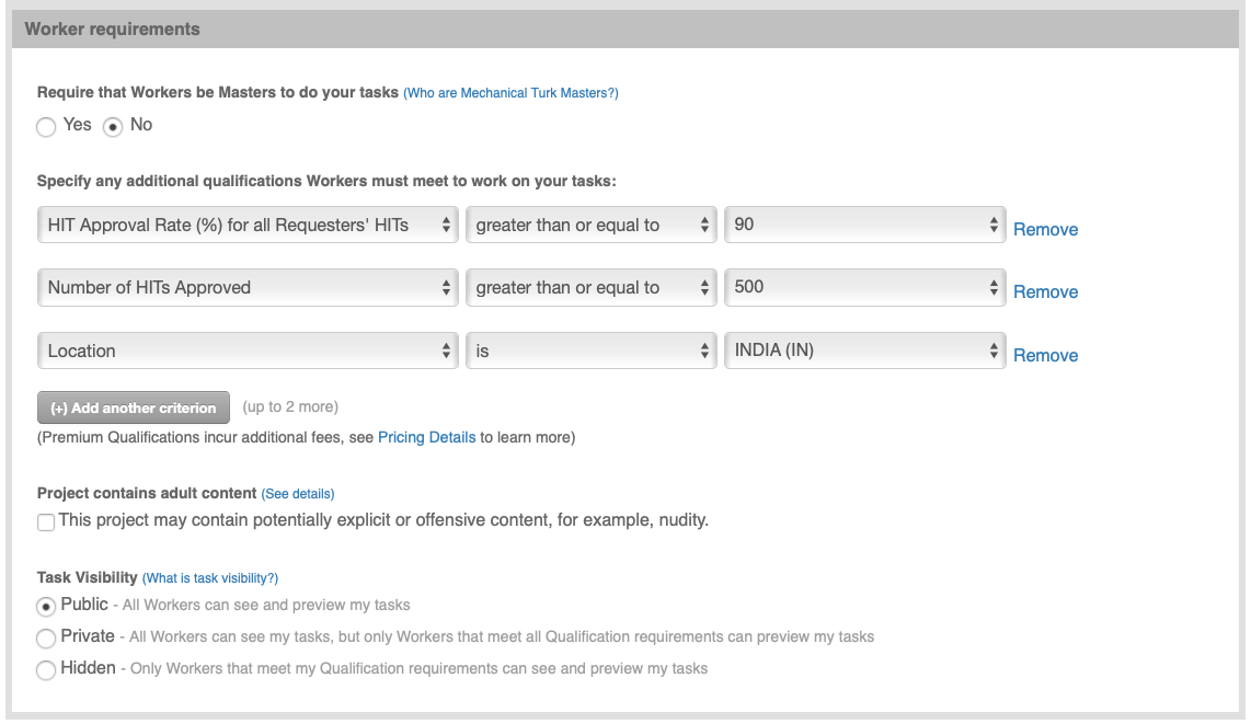 Edit the Worker Requirements for your project